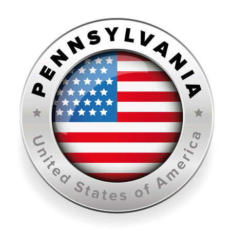 Pennsylvania Usa flag badge button vector
