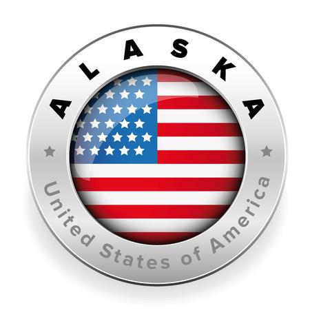 アラスカ米国フラグバッジボタンベクトル