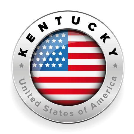 Kentucky Usa flag badge button vector