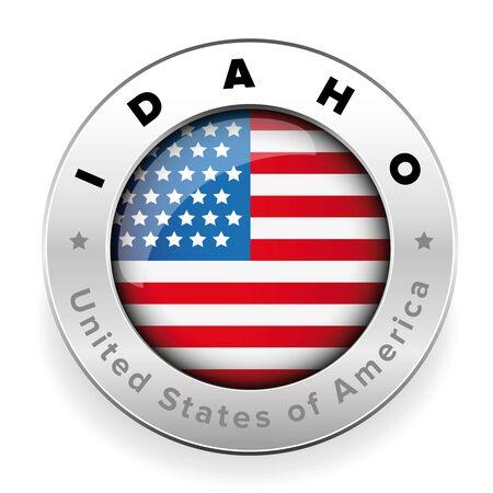 アイダホ州米国フラグバッジボタンベクトル 写真素材 - 90463485