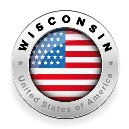 위스콘신 미국 국기 배지 단추 벡터