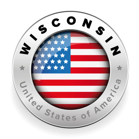 Wisconsin USA flag badge button vector 向量圖像