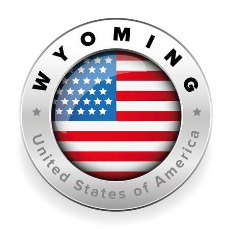 Wyoming Usa flag badge button vector