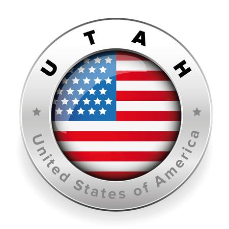 Utah Usa flag badge button vector