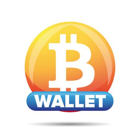 Bitcoin wallet button sign vector Illustration