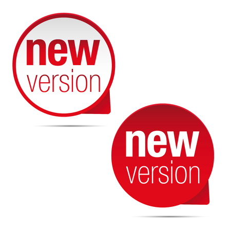 New version label red tag vector illustration.