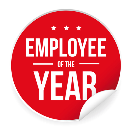 Employee of the year label sticker.  イラスト・ベクター素材