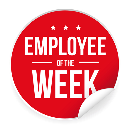Employee of the week label sticker.