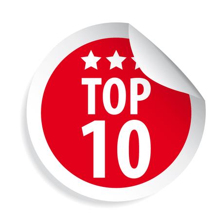 Roter Aufkleber des Top Ten-Etiketts