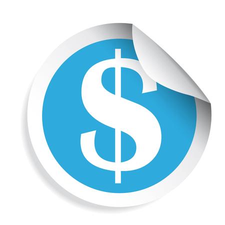 US Dollar sign sticker label vector
