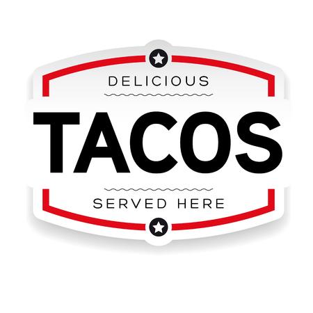 Signo de etiqueta vintage tacos