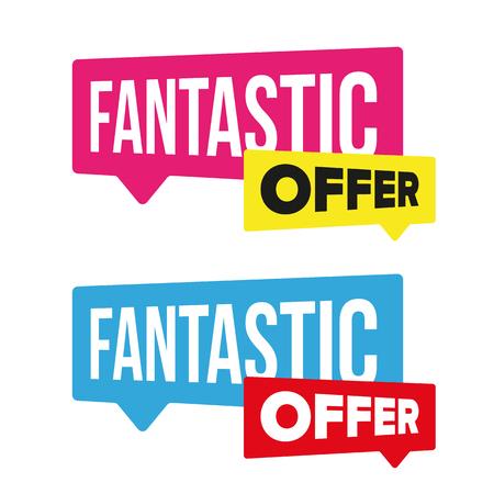 Fantastic Offer sale label vector