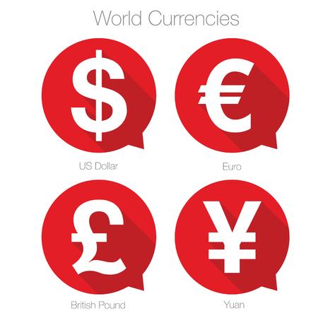 World currencies sign symbol set
