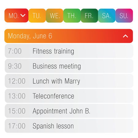 Calendar App template vector Stock Illustratie