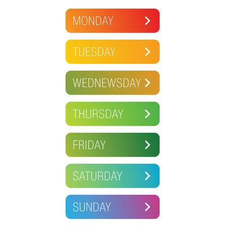 Conjunto de botones de días de la semana Ilustración de vector