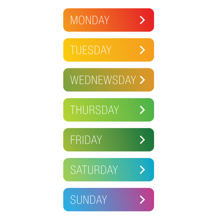 Days of the week button set vector Stock Illustratie