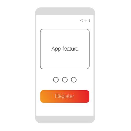 register UX mobile app vector Stock Illustratie
