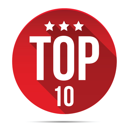 Top Ten red label button vector