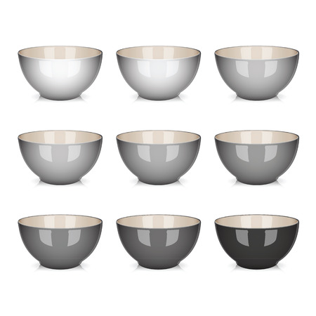 Vector Bowl set grey isolated