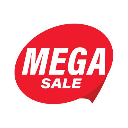 Mega Sale label red vector