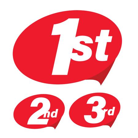 First Second Third label set vector Stock Illustratie