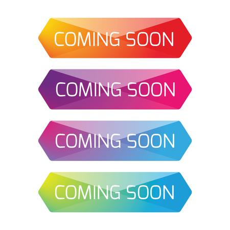 Coming Soon button set vector
