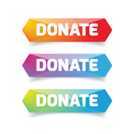 Donate button set low poly vector