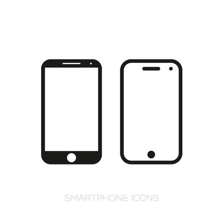 Smartphone icon set vector black Stock Illustratie