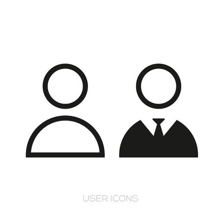 User icon set vector black