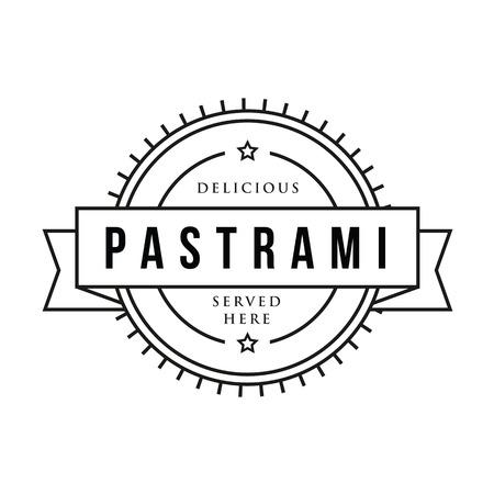 Pastrami sandwich vintage stamp Vettoriali