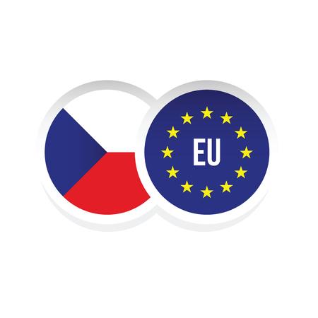 Tschechische Republik Europäische Union Abzeichen Vektor Vektorgrafik