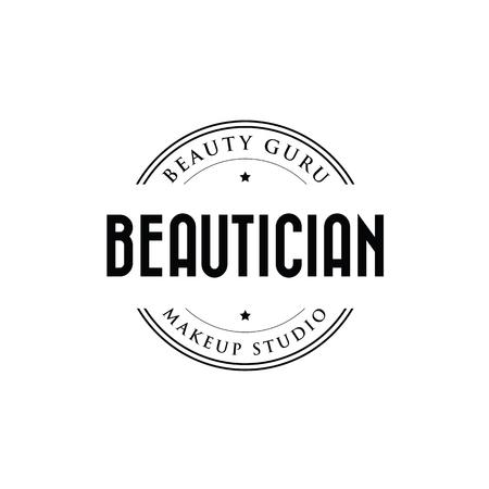 Beautician makeup studio logo stamp