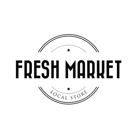 Fresh local market vector stamp