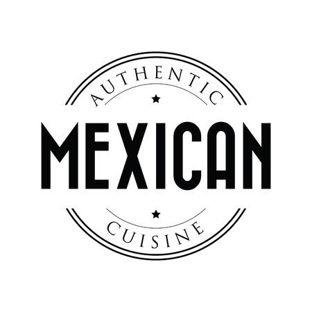 Authentic Mexican cuisine stamp vintage Stock Illustratie