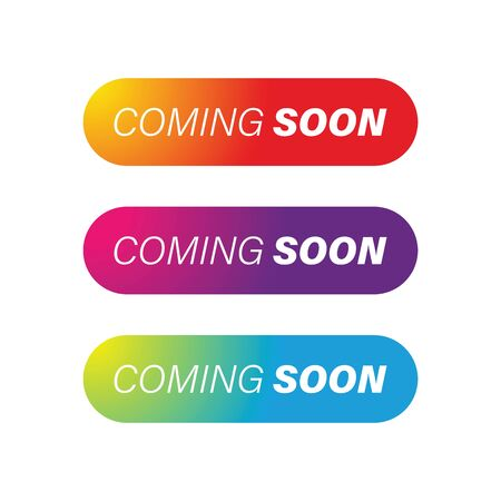 Coming Soon colorful button set vector