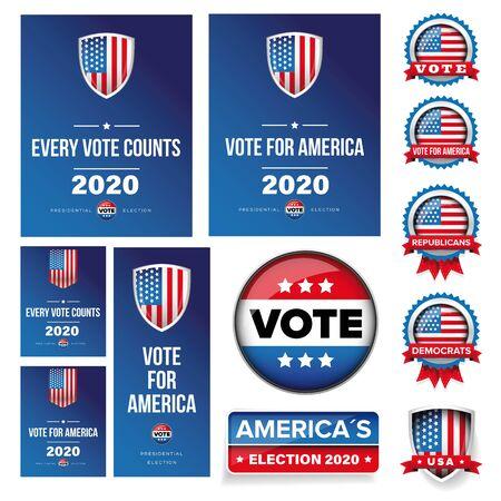 Cartel de la elección presidencial de Estados Unidos y conjunto de banners