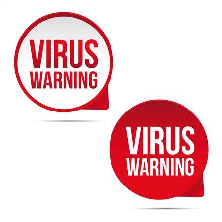 Virus Warning sign label red Ilustração
