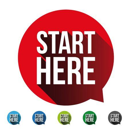 Start Here button label set