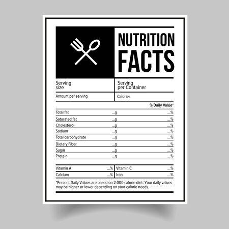 Fakty żywieniowe Naklejka na etykiecie żywności