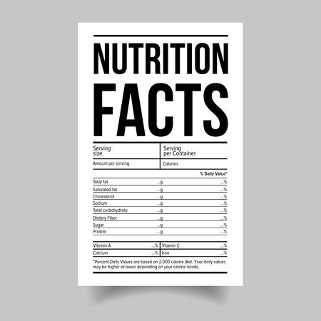 Nutrition Facts food label sticker