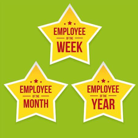 Best Employee award badge star set