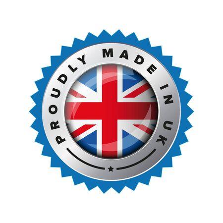 Proudly Made in UK flag button badge Ilustração