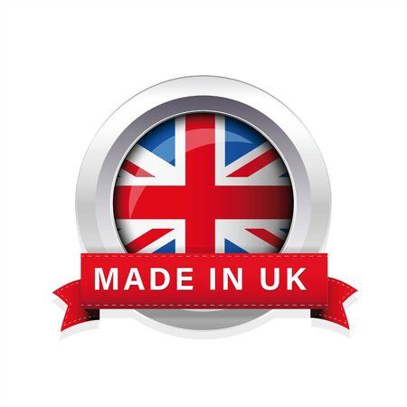 Made in UK flag button badge Ilustração