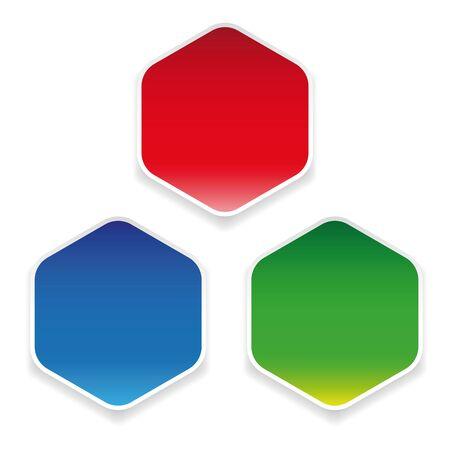 Empty colorful hexagon sticker set
