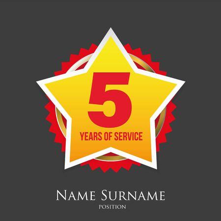 Five years of service award badge vector Ilustração