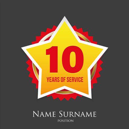 Ten years of service award badge Ilustração