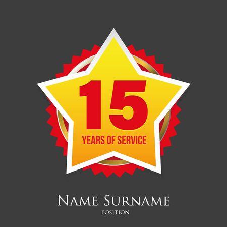 Fifteen Years of service award badge vector