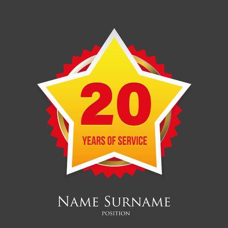 Twenty Years of service award badge vector Ilustração
