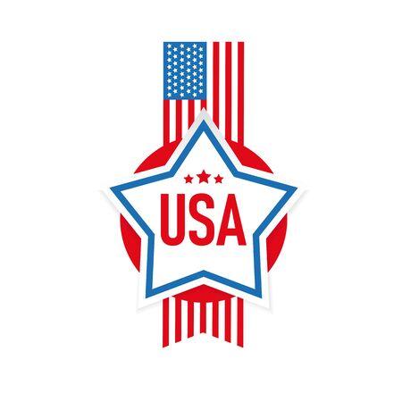 USA flag stripes and star