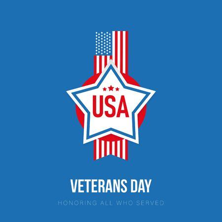 Veterans Day USA flag sign Ilustração